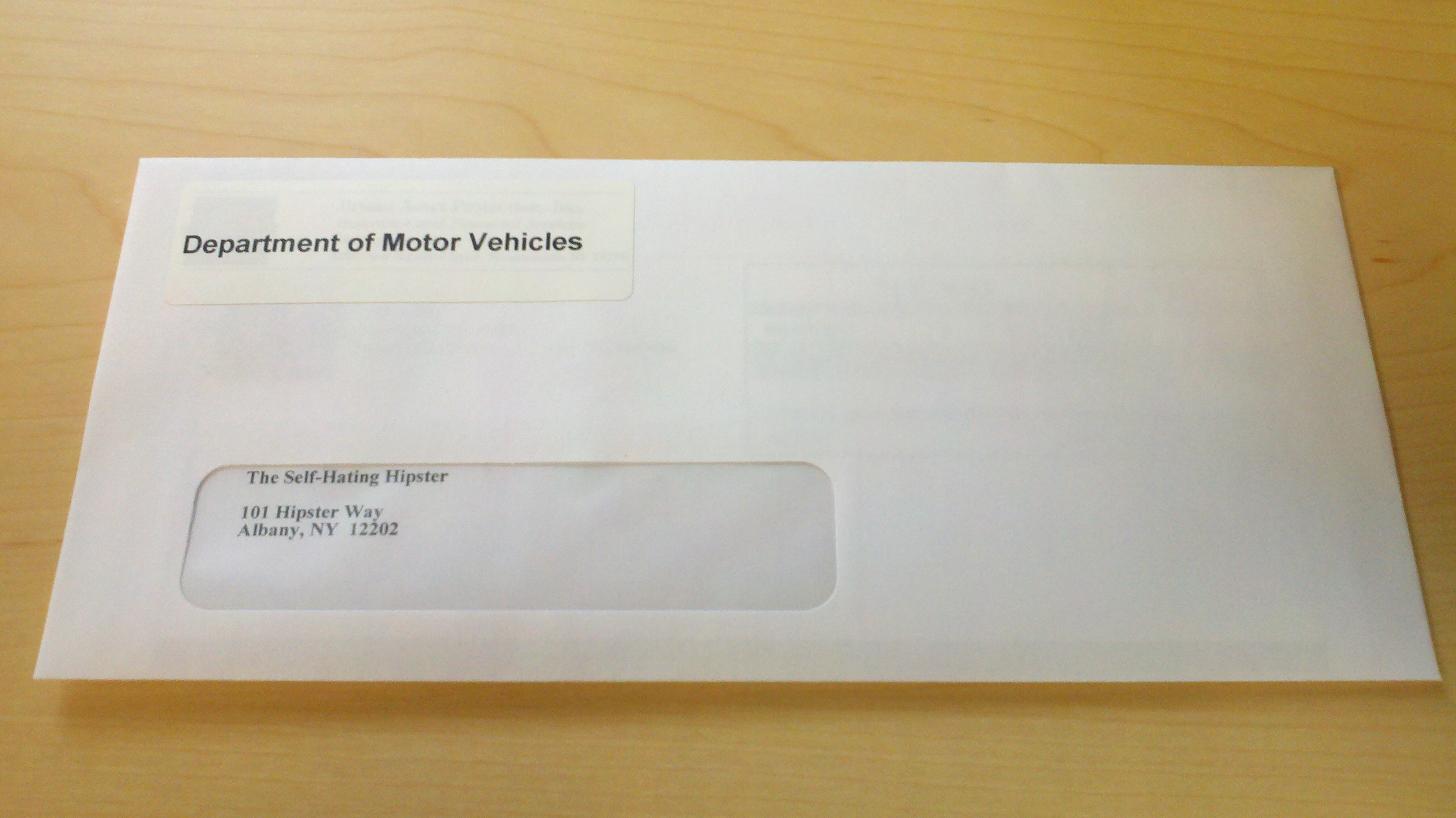 In this case, I had a vehicle registration renewal invoice from the Department of Motor Vehicles to the tune of ...